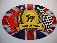 "2 ISLE OF MAN TT RACES 4"" OVAL STICKERS KAWASAKI MOTORBIKE I O M  HONDA YAMAHA"