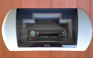 Spa-DIN-Radio-Head-Unit-CD-Shelf-Housing-Bezel-Hot-Tub-NEW-White-Spring-Load