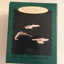 The Ships of Star Trek Vintage 1995 Hallmark Christmas Ornaments Set of 3 QXI410