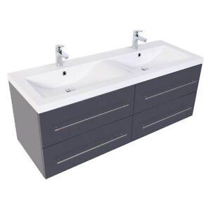 Details zu Doppel Waschtisch mit Unterschrank anthrazit Waschplatz  Waschbecken Badmöbel Set