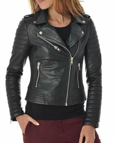 in Coat Biker nero Outwear pelle Fit 51 Slim Zip donna Up S Giacca da moto USfTWdgUq