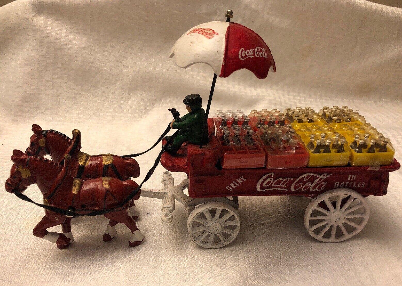 genuina alta calidad Vintage Vintage Vintage Coca Cola Caballo de Hierro Fundido dibujado Vagón paraguas casos botellas de Coca Cola  distribución global