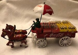 Vintage-Coca-Cola-Cast-Iron-Horse-Drawn-Wagon-Umbrella-Cases-Bottles-Coke