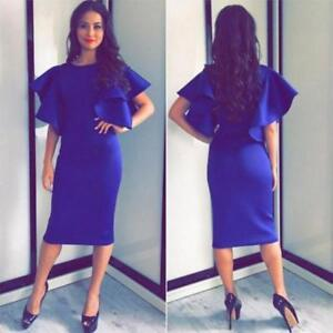 f75852104614 New Hot Women Royal Blue Midi Dress Butterfly Sleeves Summer Natural ...