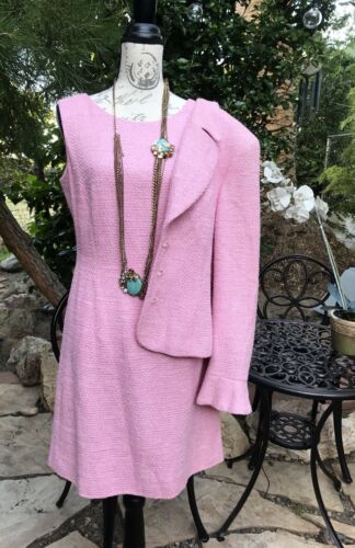 ESCADA Vintage Dress  w/ Jacket Suit 38 Pink Boucl