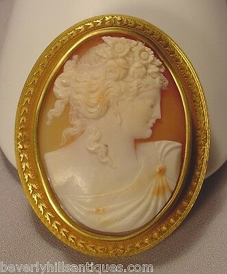 Large Antique Exquisite 14k Gold Victorian Cameo Brooch Pendant