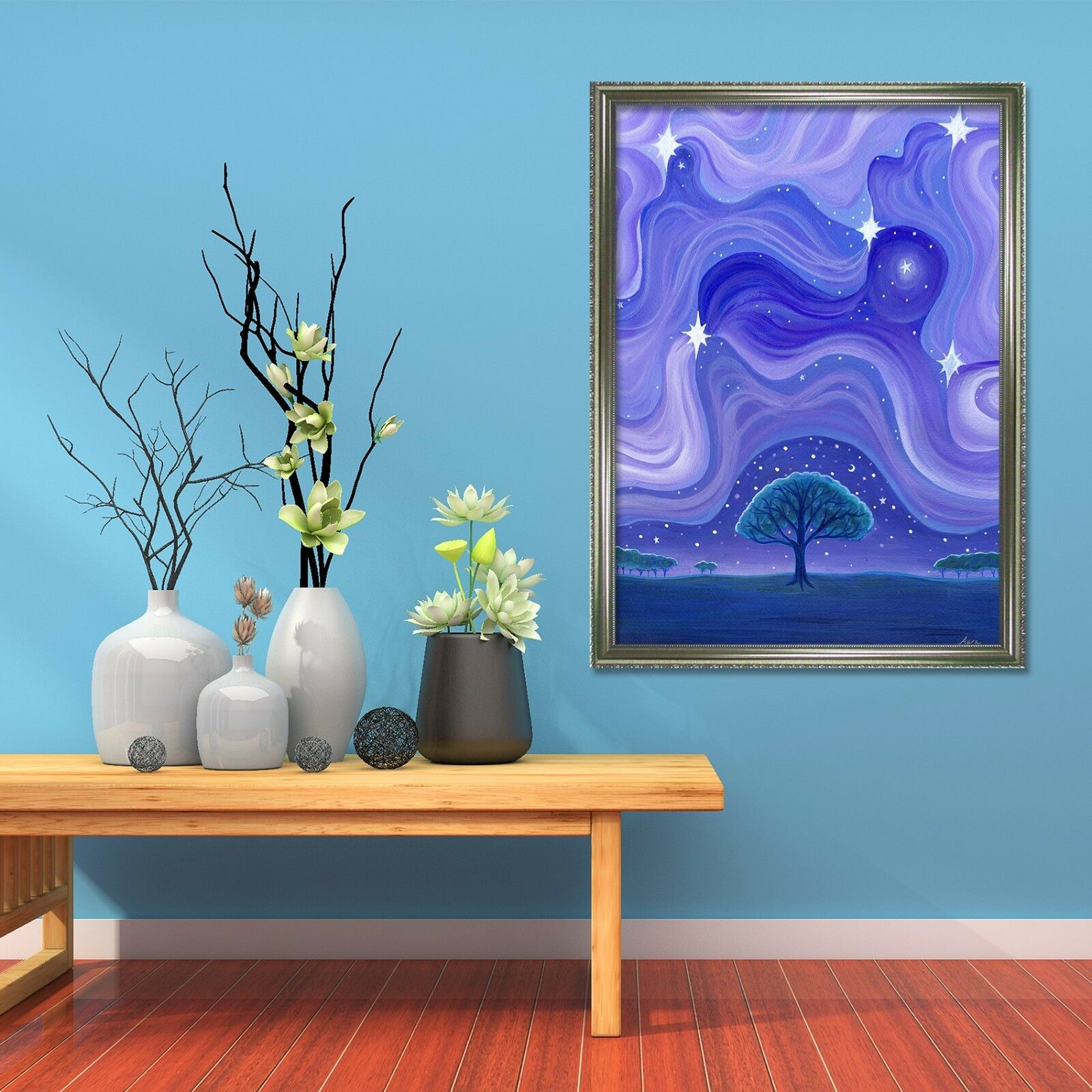 3D Blau Vortex 6 Framed Poster Home Decor Print Painting Art AJ AU