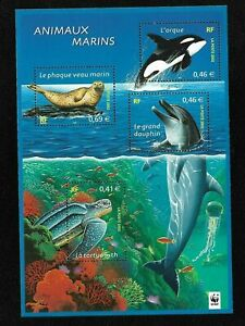 Bloc-Feuillet-2002-N-48-Timbres-France-Neufs-Animaux-Marins