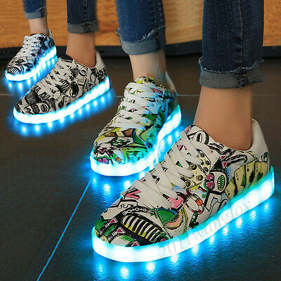 Scrawl Unisex 7 LED Light Up Casual Sneakers Sportswear Lace Up Luminous Shoes