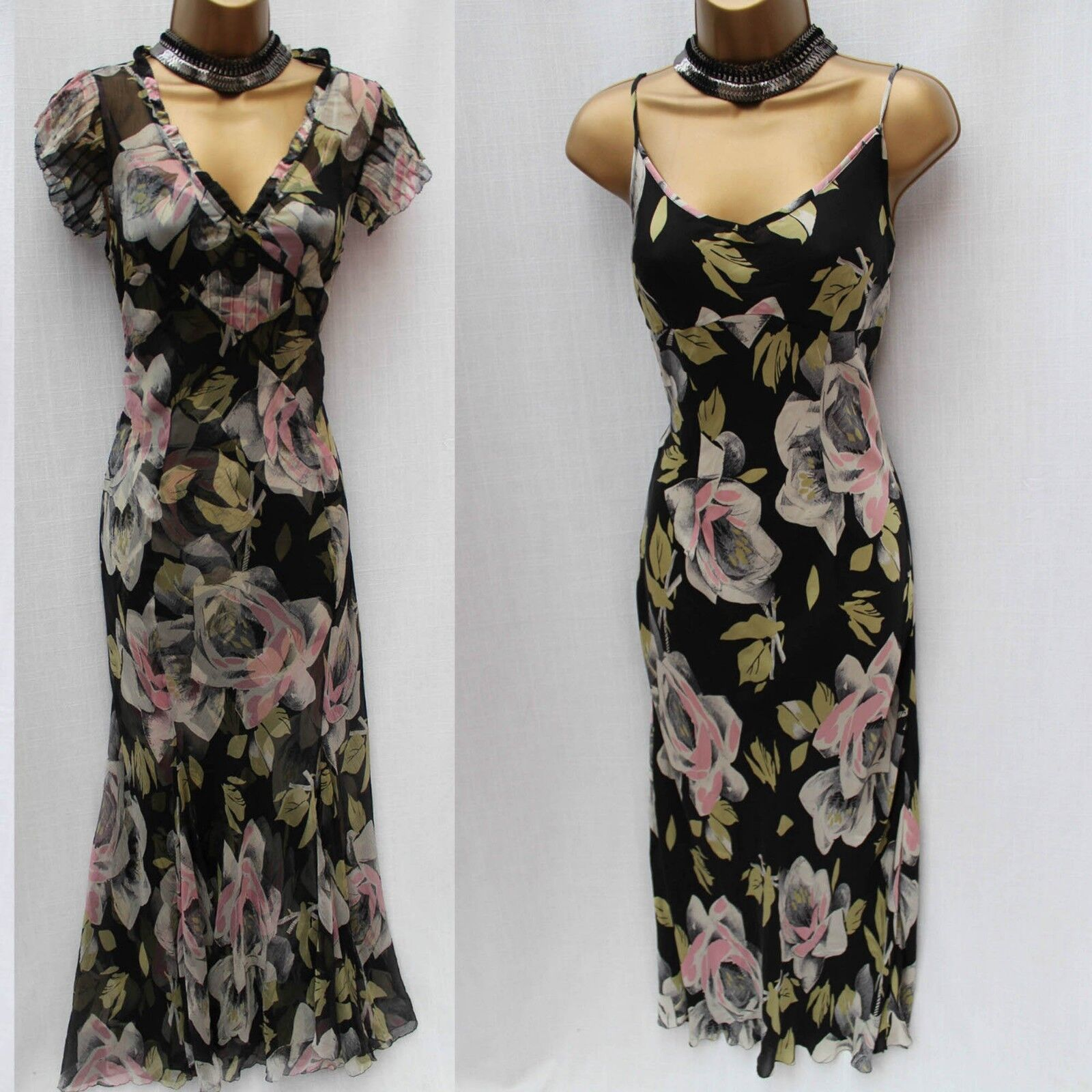 KAREN MILLEN Vintage Rosa Print Silk Cocktail Maxi Long Lingerie Dress 10