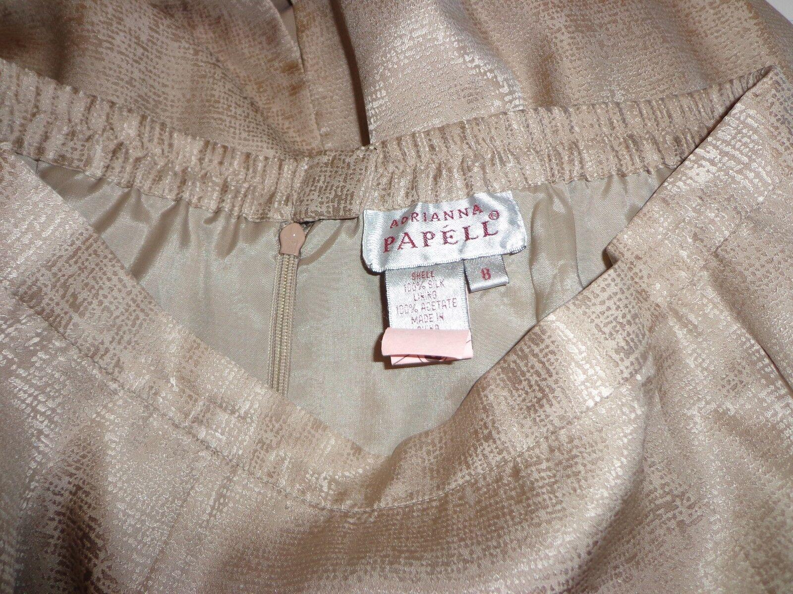Woman's sz 8 8 8 - Tan tone-on-tone print SKIRT SUIT - Adrianna Papell - Very NICE 767227