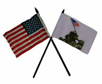 Usa American W/ Battle Of Iwo Jima Flag 4x6 Desk Set Black Base