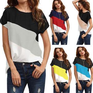 Women-039-s-Summer-Color-Block-Chiffon-Short-Sleeve-Casual-Blouse-Shirts-Tunic-Tops