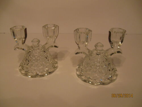 Pair Vintage Clear Glass Bell Double Candle Holders Imperial Glass Mt. Vernon