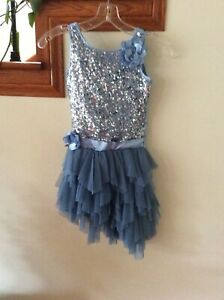 Biscotti Girls Blue Sequin Tulle Ruffled  Holiday Dress Sz 6 **