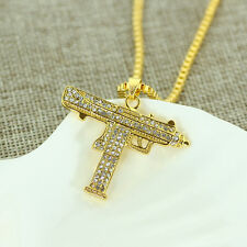 "Gold Uzi Pendant Hip-Hop 24"" Chain Necklace Chain Crystal  Machine Gun b"
