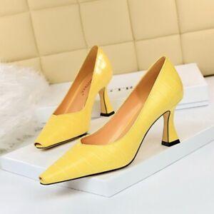 Pumps-Damenschuhe-Elegant-Komfortabel-Gelb-7-5-CM-Leder-Kunststoff-9225