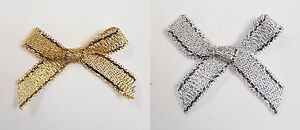 Pack-1-10-25-or-100-Small-3cm-Pre-Tied-Metallic-Lurex-Bows-6mm-Ribbon