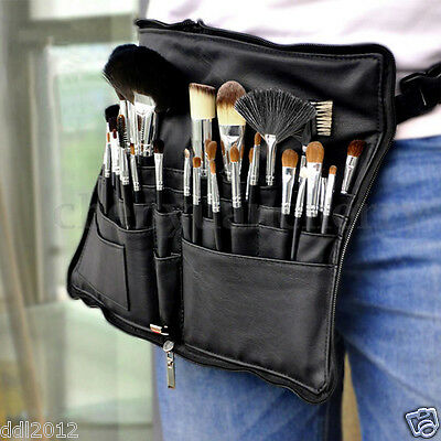 Makeup Cosmetic Bag PU Leather Makeup Brushes Bag Case Tool + Belt Strap Holder