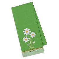 (1) Daisy Bouquet Appliqued Floral Country Cotton Kitchen Dish Towel 18 X28