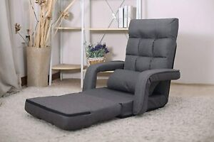 Indoor Chaise Lounge Folding Lazy Sofa Floor Chair 6 Position Couches Bed Gray Ebay