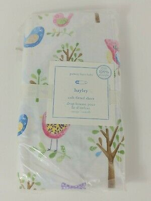 set//2 NWT Pottery Barn Kids Owl organic crib fitted sheets blue