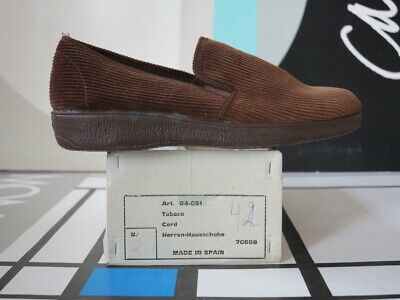 EntrüCkung Herren Hausschuhe Cord Gr. 42 Braun 80er True Vintage 80s Brown Slippers Nos Ovp