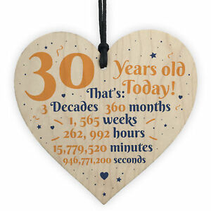 Image Is Loading Novelty 30th Birthday Gift Wooden Heart Plaque Friendship