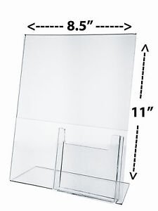 "Clear Acrylic 11""W x 8.5""H Slant Back Table Frame with Card Pocket"