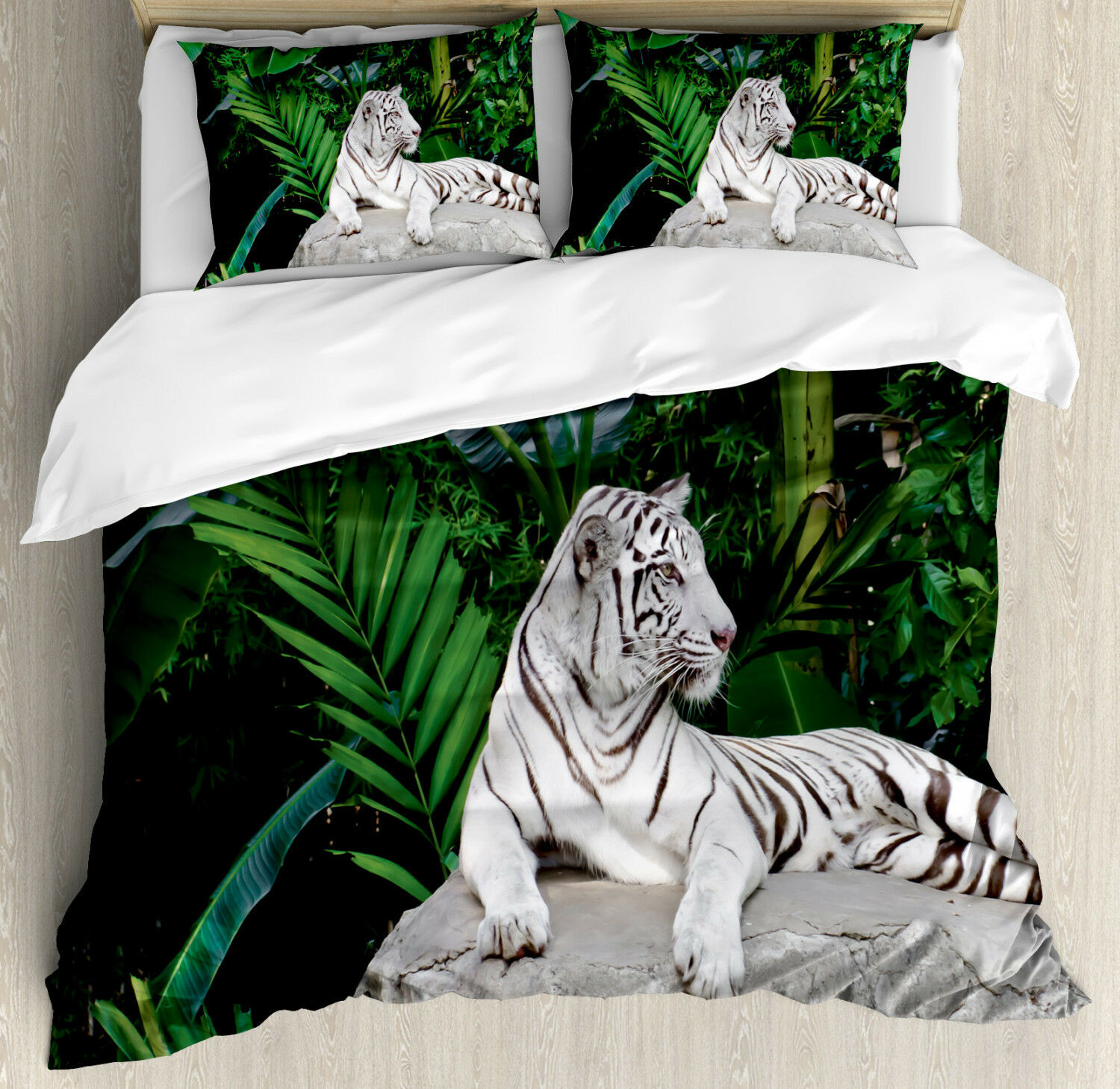 Safari Duvet Cover Set with Pillow Shams White Tiger in Jungle Print