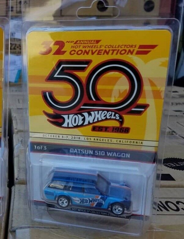 2018 Hot Wheels 32nd Convention 71 Datsun blubird 510 Carro Super Nice