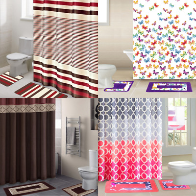 All Seasons 15pc Bathroom Set Shower, Bathroom Sets With Shower Curtain And Rugs