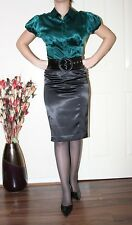 SEXY EMERALD GREEN LIQUID SATIN SECRETARY BLOUSE TOP size 14