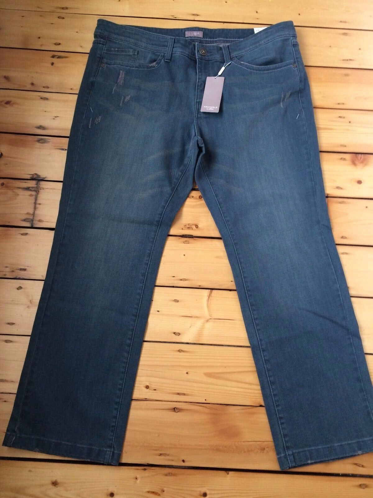 BNWT TRIANGLE BY S OLIVER LADIES LUXURY JEANS D 52 F 54 UK PLUS SIZE 26 LEG 32