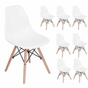 Lot-de-8-Chaises-Style-Scandinaves-Nordique-Chaise-en-ABS-Plastique-Blanc
