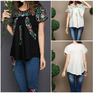 Vintage 70s Scallop Boho Ethnic Floral Embroidered Women Blouse
