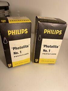 x2 Philips Photolita No 2 500W EsPearl Photo Flood Photography Photo Studio Bulb