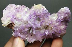 114g-Rare-Natural-Purple-Creedite-on-Gypsum-Cluster-Mineral-Specimen-China