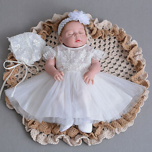 3594a8efd Image is loading Newborn-Baby-Christening-Gown-Infant-Lace-Baptism-Dress-