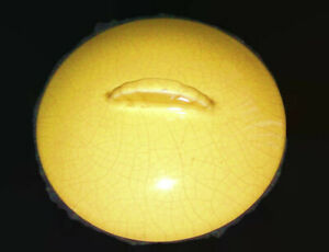 Vintage-Caliente-Paden-City-Round-Yellow-Crackle-Pottery-Lid-Top-Cover-6-1-2-034
