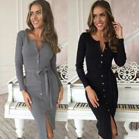 Fashion Women's Long Sleeve Dress Single-breasted Button Up Bodycon Dress Belted