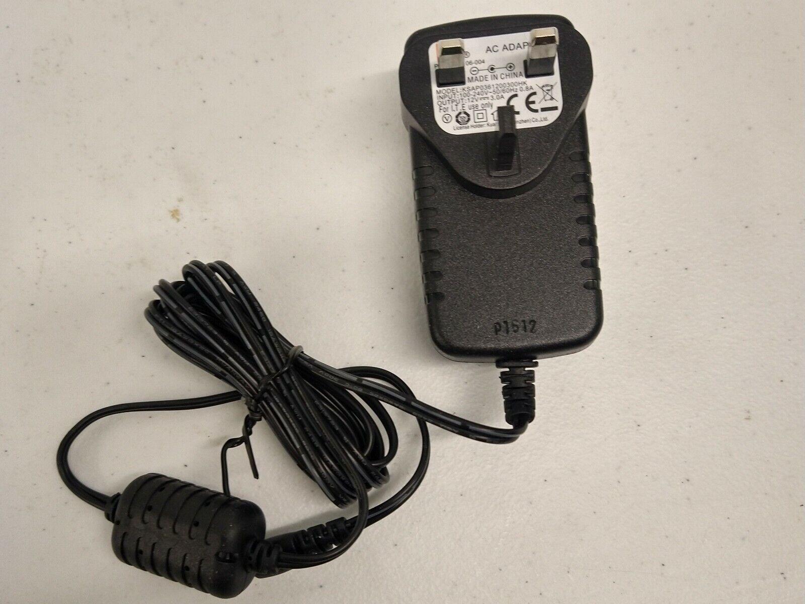 JBL 12V 3.0A AC/DC Switch Mode Adapter Power Supply KSAP0361200300HK