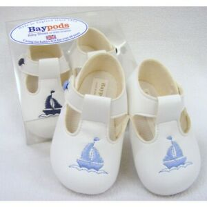BAYPODS BABY BOYS SOFT /'SAILBOAT/' T BAR Pram SHOES in 3 colours 48
