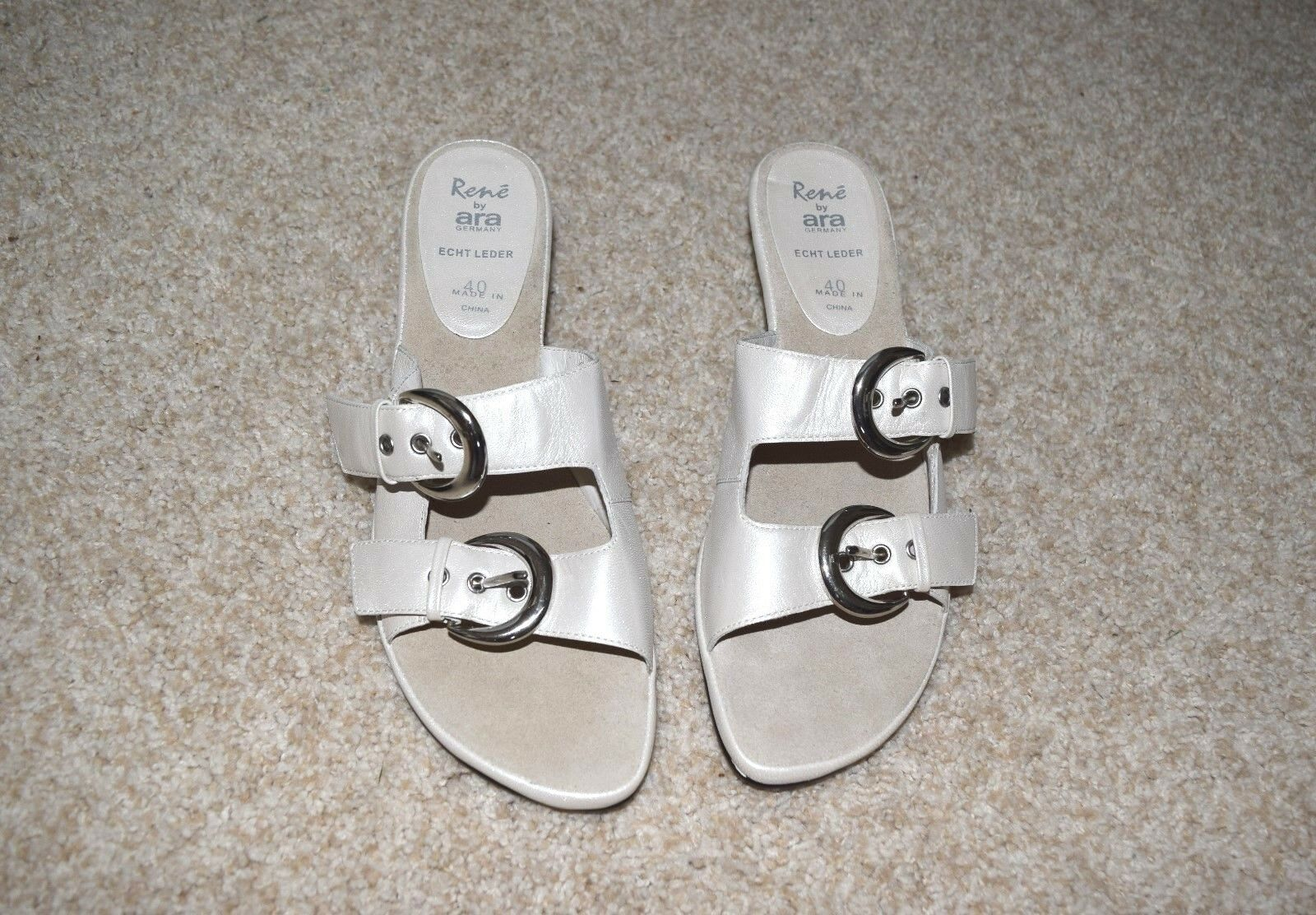 NWOB RENE by ARA Germany Leather White Pearl Bakle Sandals Slides Mules Sz 40  9