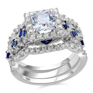 Newshe-Wedding-Engagement-Ring-Set-Vintage-Princess-Blue-Cz-925-Sterling-Silver