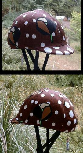 helmet cover brown w dots and flowers L//M