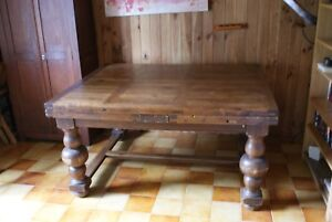 Table De Ferme Ancienne En Chene Plateau A Barreaux 148 X 121 Ebay