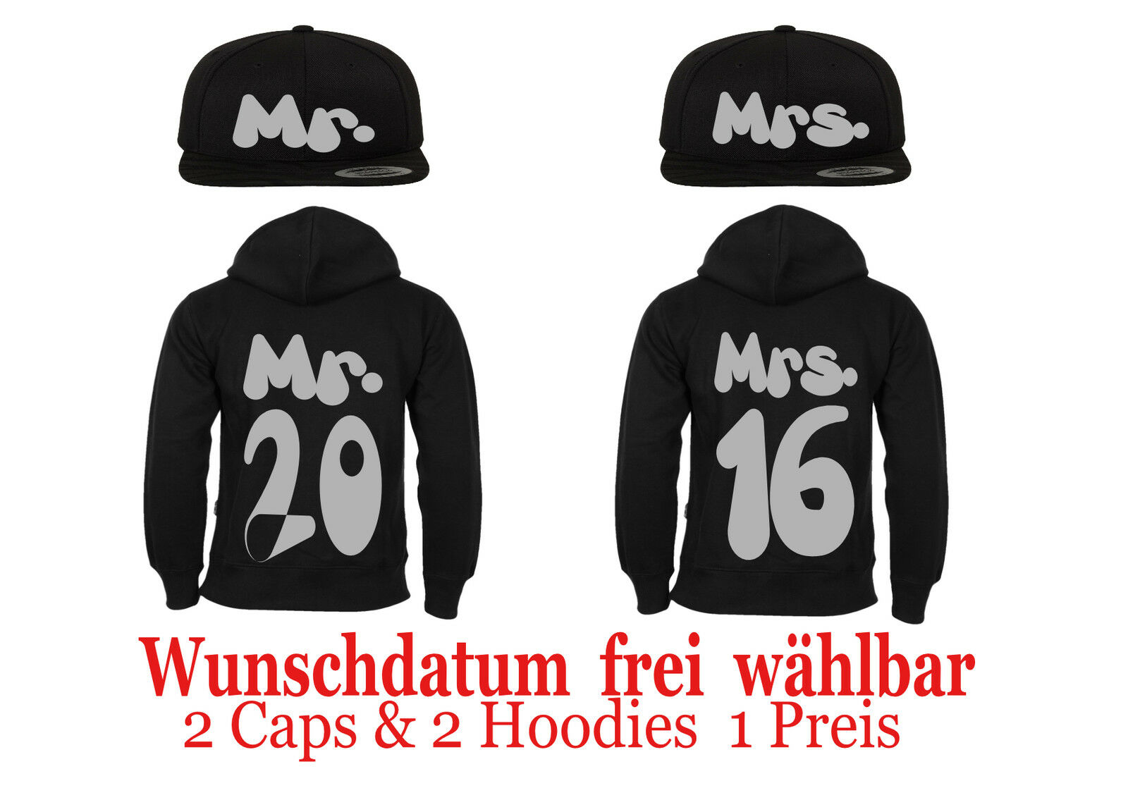 Cap Pullover mit Mr & Mrs Motiv 4er Set Partner Look Gretoon XS-4XL Hochzeit