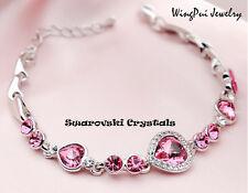 NEW 2017 Made with Swarovski Heart Rose Pink Crystal 18K Gold Plated Bracelet