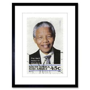 Postage Stamp South Africa 45 Cents Nelson Mandela Framed Print 9x7 Inch